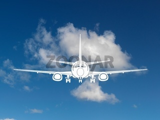 Aircraft silhouetted in a blue sky