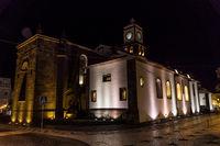 nightview of church of st. sebastian at ponta delgada