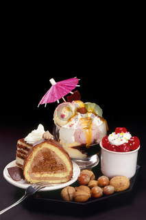 Cakes and ice-cream