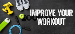 Fitness equipment on a dark background - Improve your workout