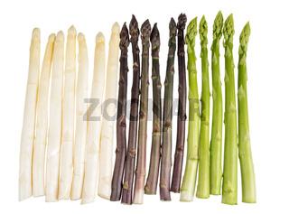 Weißer, grüner und violetter Spargel