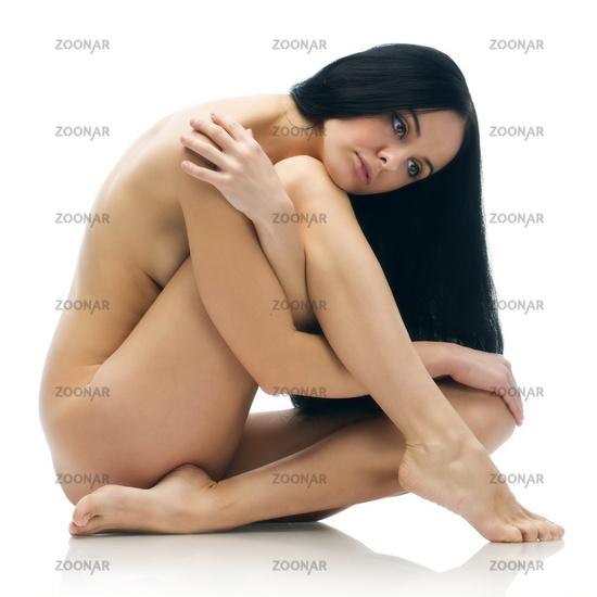 Naked sitting girl