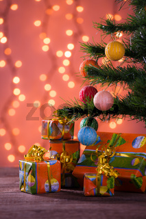 Christmas gifts with blurred lights