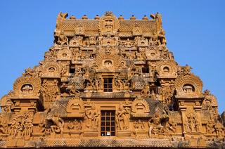 Carved stone Gopuram of the Brihadishvara Temple, Thanjavur, Tamil Nadu, India