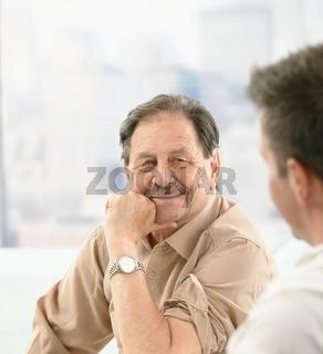 Closeup portrait of older patient at doctor