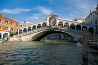 Rialto bridge across the Great Channel located at Venice, Italy