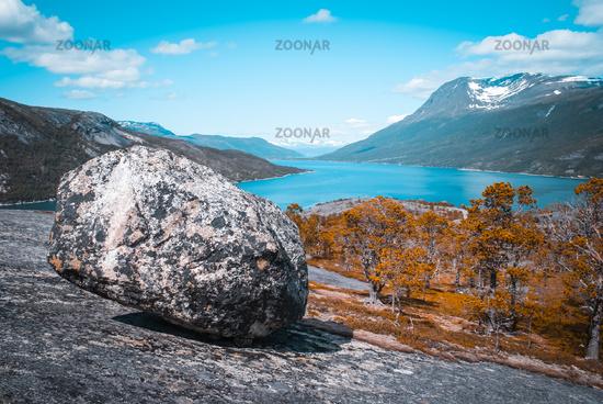 Large stone on rock