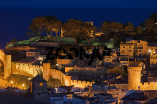Old Town of Tossa de Mar at Night