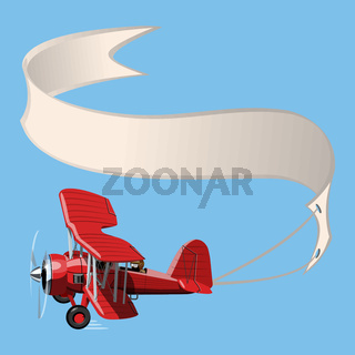 Cartoon Biplane with banner