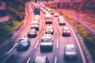 highway traffic jam concept , cars on highway