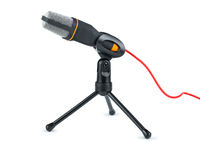 Black microphone with red wire