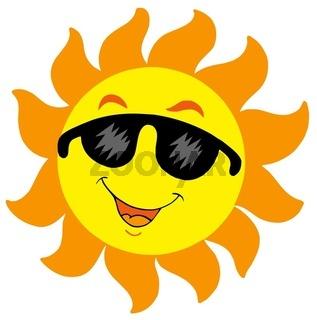 Cartoon Sun with sunglasses - isolated illustration.
