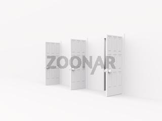three open doors. 3d on white