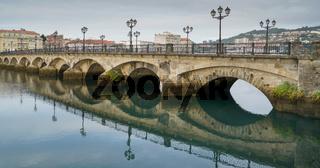 Historische Brücke von Pontevedra, Galizien, Spanien