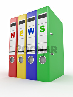 Archiveof news. Many folders on white isolated background. 3d
