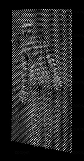 Abdruck einer menschlichen Figur an  einem Pinart-Nagelbrett