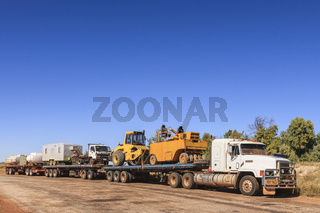 Roadtrain Carrying Road Construction Equipment