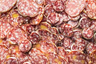 Tasty sliced salami.