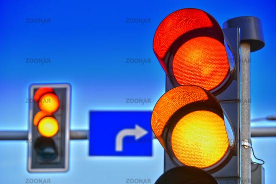 Traffic lights over sky after sunset