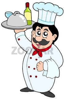 Cartoon chef holding meal and wine - isolated illustration.