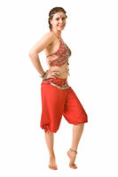 girl in a red dress dancing