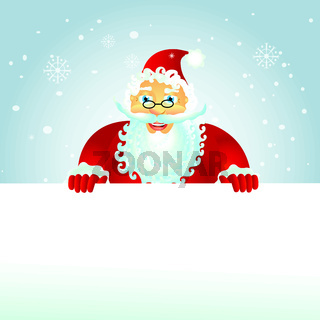 Happy Santa with christmas banner on the roof - isolated vector