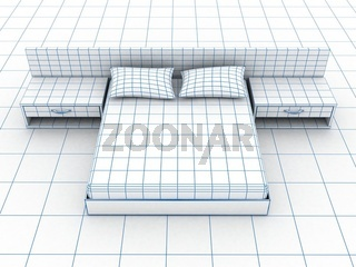 Sofa on white. 3D rendering