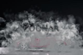 Auto verschwindet im Qualm seiner Abgase