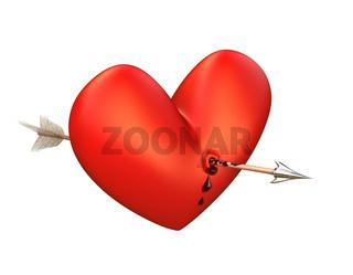 Pfeil in blutendem Herz, Oben. Arrow in a bleeding heart, above.