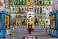 Altar in the Alexander Svirsky Monastery in Staraya Sloboda, Russia. July 2016.