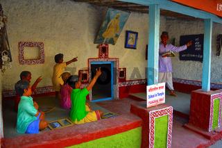 School in temple , Sculpture museum, Kaneri Math, Kolhapur, Maharashtra.