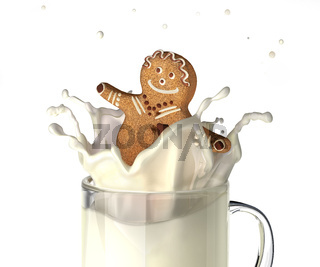 Sweet human character shaped bisquit, splashing into a glass mug full of fresh milk.