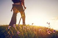 Man summer meadow flowers