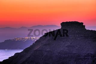 Skaros at sunset in Santorini, Greece