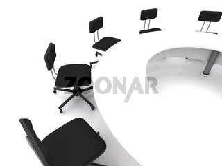 Office chairs on white. 3D rendering