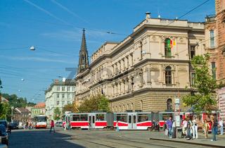 Strassenbahnen im Bruenner Stadtzentrum