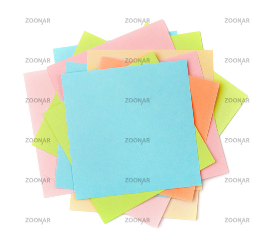 Top view of colorful sticky note papers