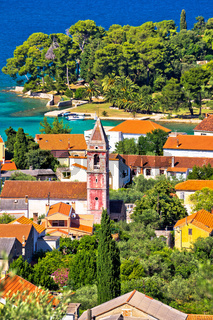 Town of Preko on Ugljan island architecture and beach view