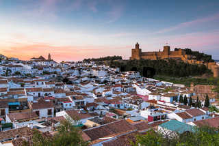 Panoramic cityscape of Antequera at twilight, Spain
