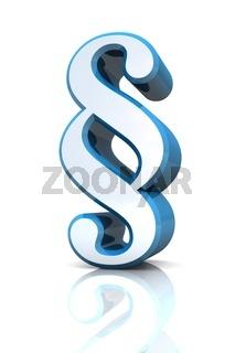 3D Paragraf Zeichen - Silber Blau