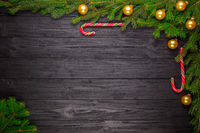 Christmas fir tree on black wooden background