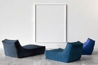 Solo chairs and blank picture frame background