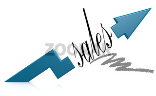 Blue arrow with sales word
