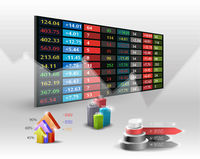 stock market price display background.Hand searching business.