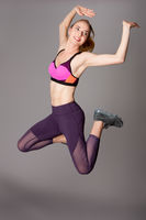 Happy fitness workout power jump
