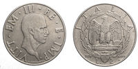 two 2 Lire acmonital Coin 1939 XVIII Empire Vittorio Emanuele III Kingdom of Italy