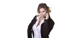 Junge Frau lauscht am Handy