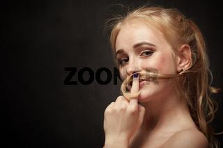 woman making mustache