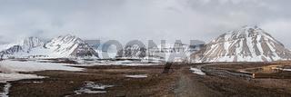 Mountain landscape in Ny Alesund, Svalbard islands
