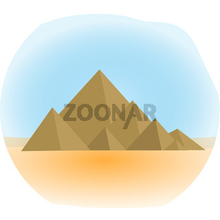 Mountain icon, flat, cartoon style. Jewish religious holiday Shavuot, Mount Sinai concept. Isolated on white background. Vector illustration, clip-art.